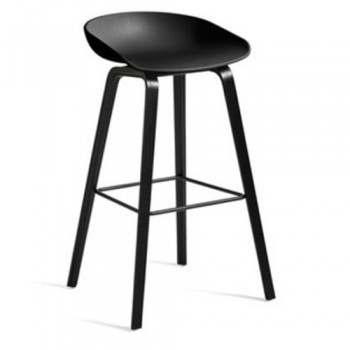 Hay - About a Stool AAS32 High - 85 cm Black Stained Oak Veneer - Black
