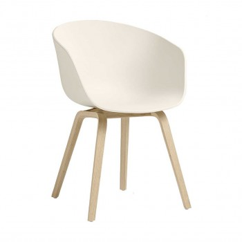 Hay - About a Chair - AAC22 eetkamerstoel - gezeept onderstel - Cream White
