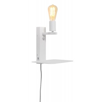 It's About RoMi - Florence wandlamp met plank en USB - Small Wit