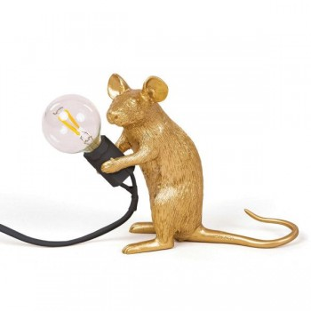 Seletti - Mouse Lamp zittend Goud