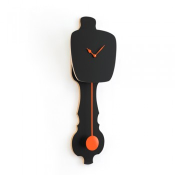 Kloq - Wandklok Satin Black - Neon Orange