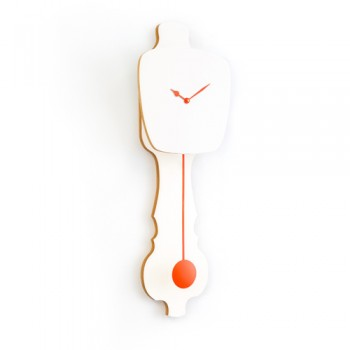 Kloq - Wandklok Pure White - Neon Orange